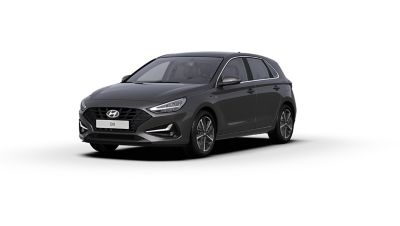 Front side view of the new Hyundai i30 in the colour Dark Knight Grey.