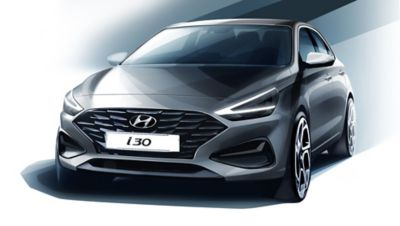 Sketch of the new Hyundai i30 design.