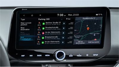Image of the 10.25-inch screen of the new Hyundai i30, showing on and off-street parking information.