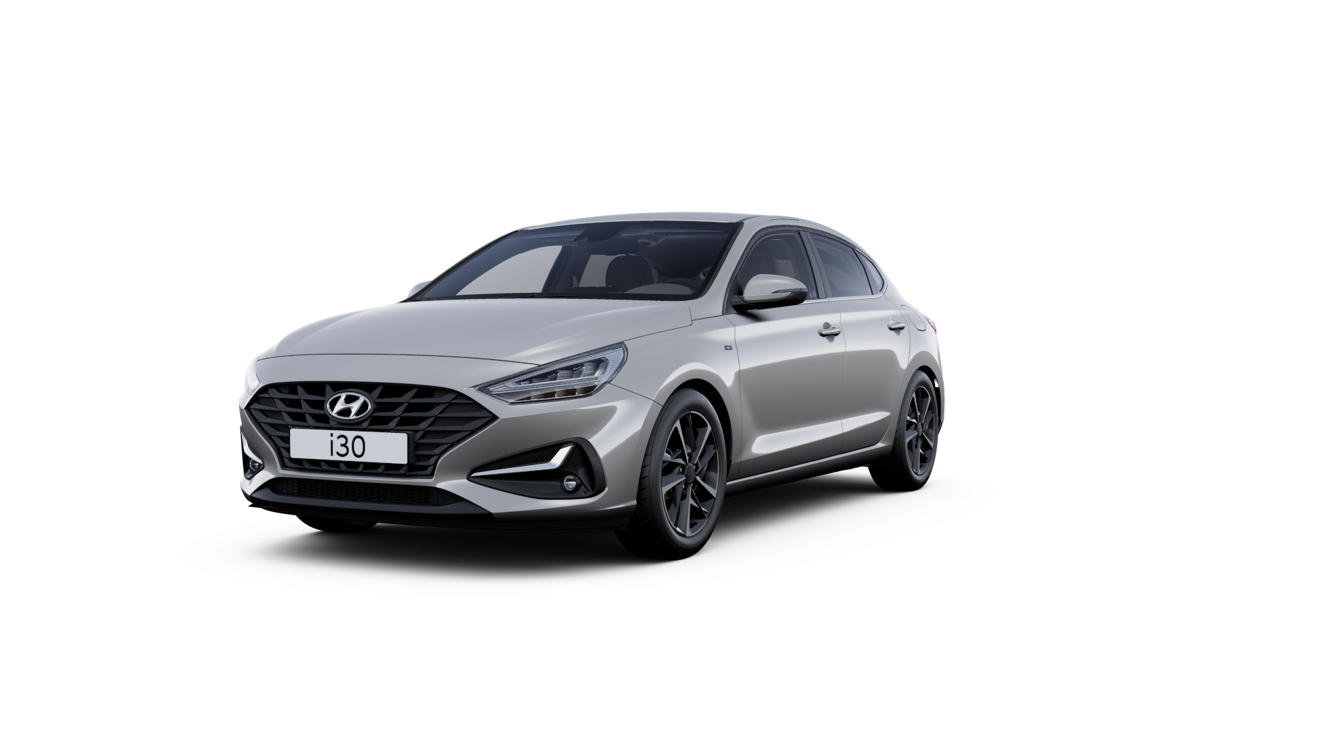 Front side view of the new Hyundai i30 Fastback in the colour Shimmering Silver.