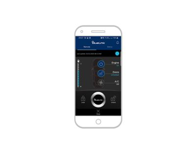Screenshot of the Hyundai Bluelink iPhone app: unlocking the car