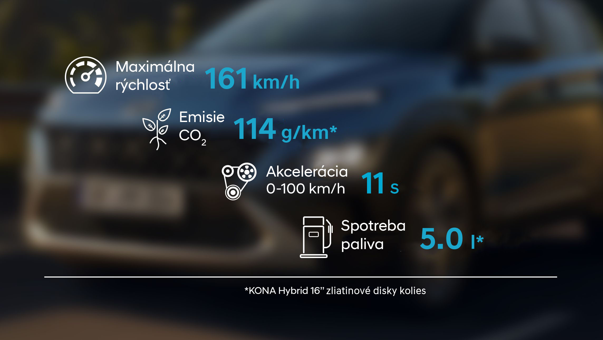 The stats of the sporty and efficient new Hyundai Kona Hybrid compact SUV.